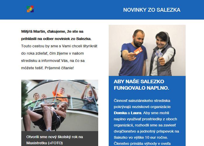 Prvý newsletter Novinky zo Salezka
